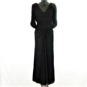 Black Ruched Chiffon Maxi Dress  Size 10P